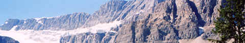 Photo: Closeup of Crowfoot Glacier, Canadian Rockies, Alberta.  Photo Copyright 2006 S.G.P.  All Rights Reserved.