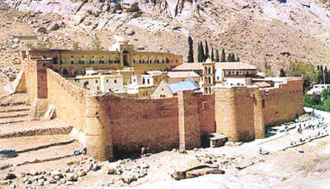 Photo: St. Catherine's Monastery at the base of Mount Sinai.