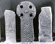 Image: Compare the two Celtic Crosses to the left and center to see the probable origin of the Celtic Cross.