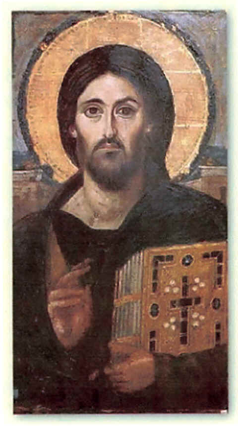 Image: Christ Pantoctrator Icon from St. Catherine's  monastery in Sinai (6th or 7th century).