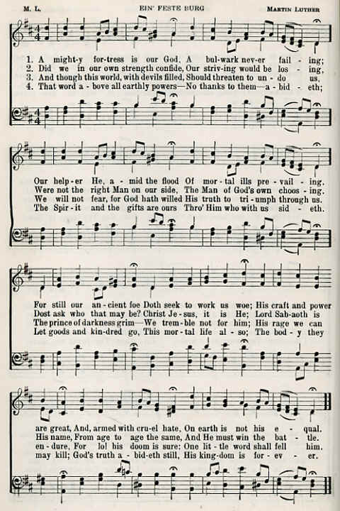"Image: Sheet Music with Words of the Song, ""A Mighty Fortress (is Our God)"" by Martin Luther."