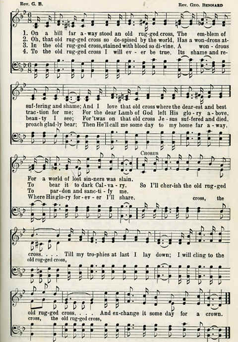 Image sheet music with words of the hymn quot the old rugged cross quot