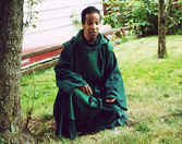 Photo: of Monk Danny in our monastery yard.