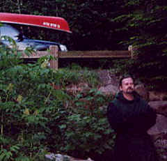 "Photo: of Monk Preston and our ""Monk-Canoe"" in the woods."