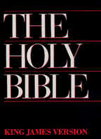 "Photo: of a Bible, saying, ""The Holy Bible"" , and ""King James Version""."