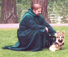 Photo: Monk Preston and puppy Monk-Dog Wolfgang.  Copyright 2001 S.G.P.  All Rights Reserved.