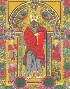 "Image:  Of Christ, from the ""Book of Kells""."