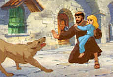 Image: St. Francis saves a child from a dangerous dog.