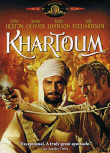"Image: Front Cover of the DVD, ""Khartoum"" starring Charlton Heston and Sir Laurance Olivier."