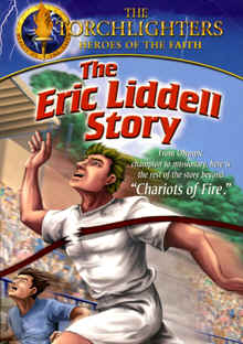 "Image: Front cover of the DVD, ""The Eric Liddell Story"" (Torchlighters: Animated)."