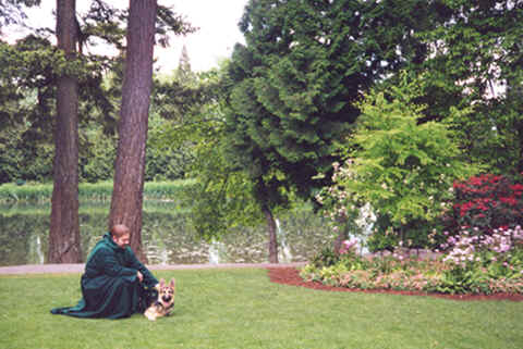 Photo: of Monk Preston and puppy Monk-Dog Wolfgang.  Copyright 2003 S.G.P.  All Rights Reserved.