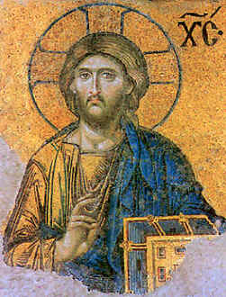 Image: of an Orthodox Icon of Jesus Christ based on that found in Hagia Sophia.