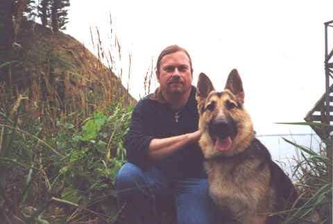 Photo: Monk Preston & Monk-Dog Wolfgang: Pacific Coast.  Copyright 2003 S.G.P.  All Rights Reserved.