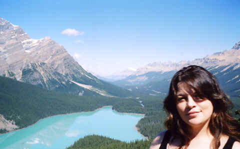 Photo Copyright 2006, S.G.P.  All Rights Reserved. Photo: of monk Linda in the Canadian Rockies (Bow Lake, Banff National Park, Alberta). Photo Copyright 2006 S.G.P.  All Rights Reserved.